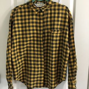 Vintage DVF yellow blue plaid top XL